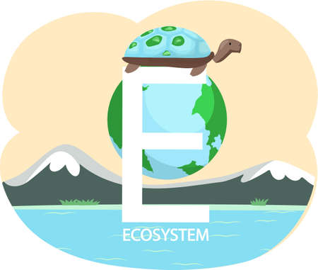 Eco friendly, nature conservation, environmental protection. Turtle stands on letter e on background of Earth. Representative of biodiversity, reptile of planet Earth. Save green ecosystem concept