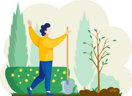 Man with shovel digging hole illustration. Man buries seedling in ground for planting trees. Professional gardener worker holding shovel. Farmer works in field. Spring farm work in yard, agriculture