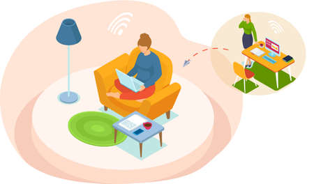Young woman doing video conference with colleagues in computer sitting at home or office. Online meeting via group call. Online education concept in quarantine. Stay home, chat with friends remotely