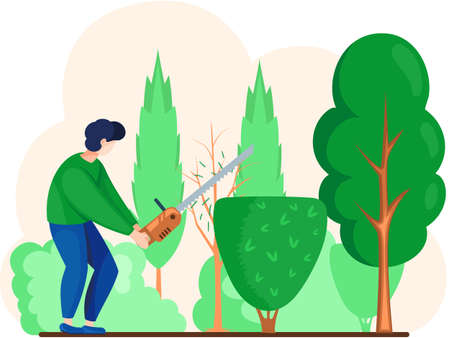 Gardener works in garden cartoon worker with saw agricultural worker. Landscaper male character trimming or trimming green tree and shrub with scissors for gardening and landscaping professions design Ilustración de vector