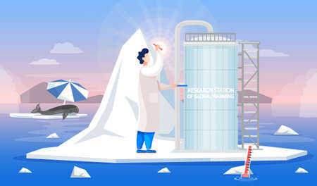 Scientist studying main causes of climate change and working in research stations of global warming. Man in scientific coat works with global warming in Antarctica. Whale on ice floe suffers from heat
