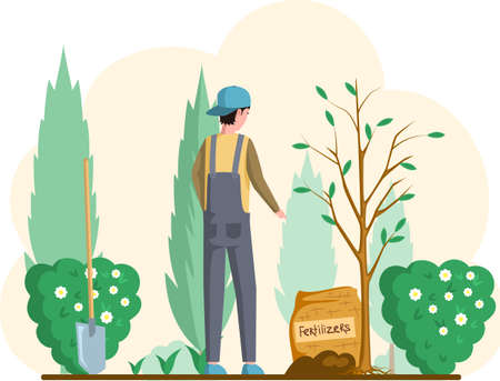 Man with shovel standing near tree in garden. Guy buries seedling in ground for planting trees. Professional gardener worker applies fertilizers to pit. Farmer works in field. Spring farm work in yard Ilustración de vector