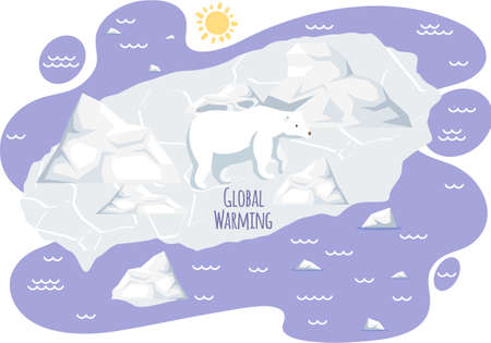 Wild animal living in arctica suffers from climate change. Polar bear on ice floe during glaciers melting. Placards and posters design of global warming and climate change. Inscription global warming