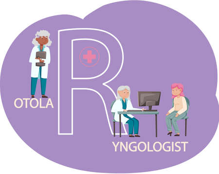 Otolaryngologist doctor with nose, ear and throat or ENT diagnostic and treatment instruments. Otology doctor with patient. Otorhinolaryngology healthcare medicine or otolaryngology diseases