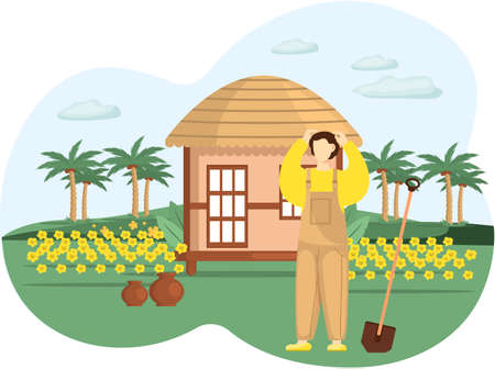 Professional gardener works in garden. Farmer works in field. Spring farm work in yard, agriculture. Man with shovel planting flowers, buries seedling in ground on flower bed, takes care of nature Ilustración de vector