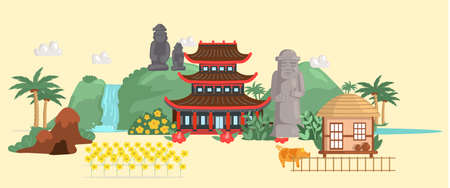 Jeju island in South Korea, famous attractions for tourist route. Layout of place for travelers. Stone figures, local buildings and waterfalls in Korean island. Journey, vacation to Asian country