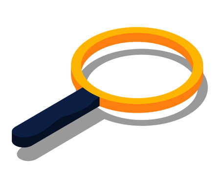 Magnifying glass icon, flat design with shadow isolated on white. Magnifier lens with frame and handle. Optical device designed to visually enlarge images. Long-handled round frame, zoom equipment Vector Illustratie