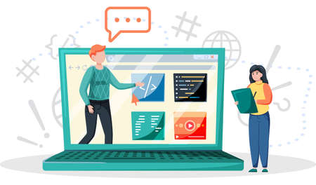 Online education concept. E-learning, home schooling. Student works on laptop studying lessons remotely, receive knowledge. Web courses or tutorials. Education platform modern digital technologies