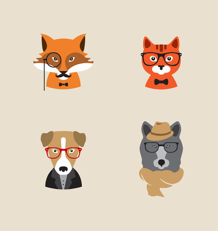 horse pipes: Collection of hipster cartoon character animals fox , cat, dog , bear with accessories isolated vector illustration