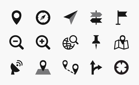 geolocation: Geolocation icons map, mono vector symbols