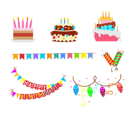 Set of vector birthday party elements Vector