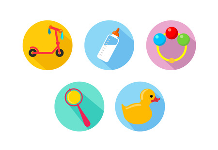 babes: Simple contour icons on the theme of children, babes Illustration