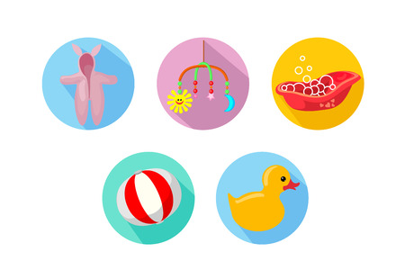 playpen: Simple contour icons on the theme of children, babes Illustration