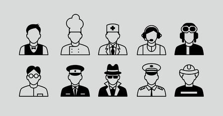 diferentes profesiones: Profesi�n conjunto. Establecer plano iconos con el Hombre de diferentes profesiones Vectores