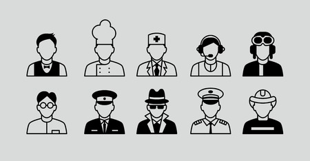 clerks: Profession set. Set Flat Icons with Man of Different Professions