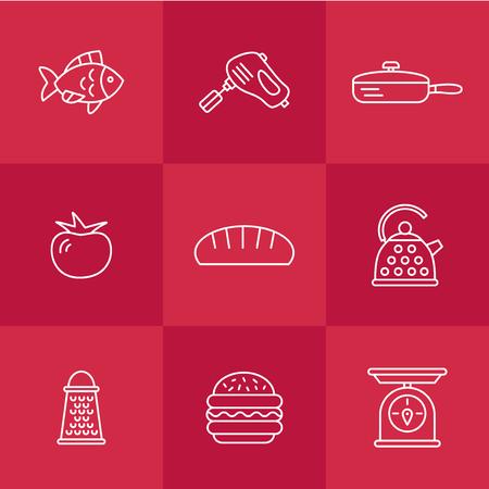 cookery kitchen icon bast set Illustration