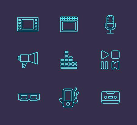 multimedia icon: Black media or multimedia icon set