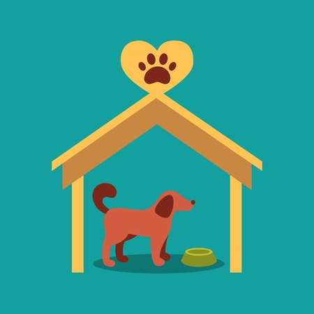 signboard beside a doghouse with a dog Vector