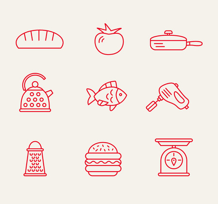 cookery kitchen icon bast set best illustrations in a modern style