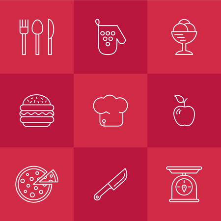 bast: cookery kitchen icon bast set best illustrations in a modern style