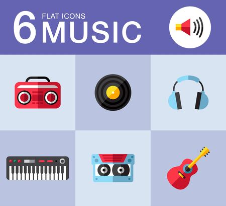 Music planar fashion icons for you. best illustrations in a modern style Imagens - 35690077