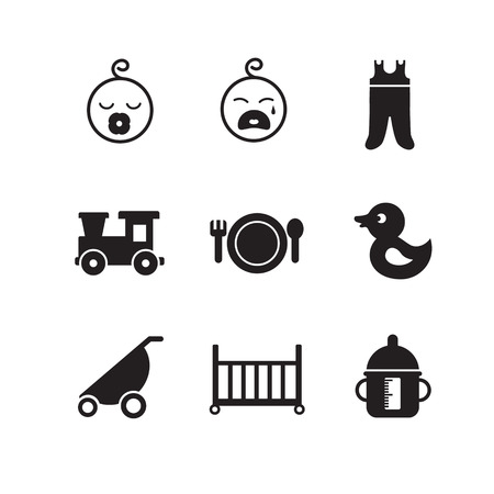 diaper pin: simple icons on the topic of kids, different forms Illustration