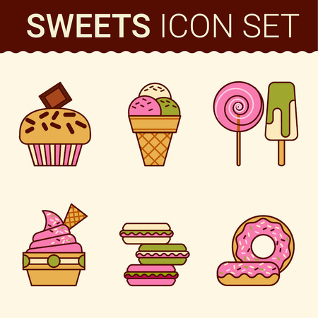 eclair: Set of delicious cakes, sweet desserts vector illustration Illustration