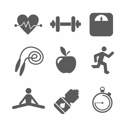 healthy lifestyle: simple vector icons sport a healthy lifestyle in a flat style Illustration