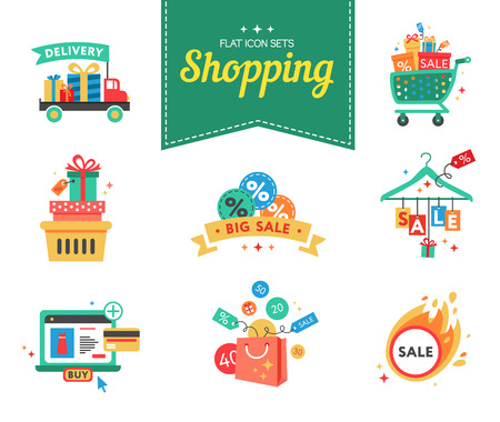 gift bags: A set of flat icons design concept for buying and selling. Icons for beauty, shopping, fashion concept. illustration designers nabora.Vektorny flat file is organized in layers for easy editing. Illustration