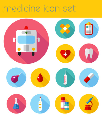chemical engineering: Set flat health care and medical research icon set. Healthcare system concept. Medicine and chemical engineering.  First aid and diagnostic equipment. Illustration