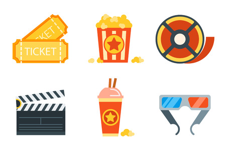 showreel: Flat icons set of professional film production, movie shooting, studio showreel, actor casting, storyboard writing, visual effects, post production. Flat design modern vector illustration concept.illustrated vector in a modern style flat
