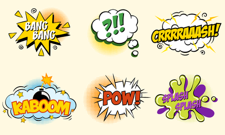 snaps: Comic speech bubbles in pop art style with bomb cartoon explosion splach powl snap boom poof text set vector illustration  modern style Illustration