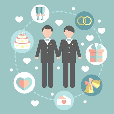 amor gay: feliz pareja gay en traje de la boda y ropa casual, muchos elementos en un estilo plano Vectores