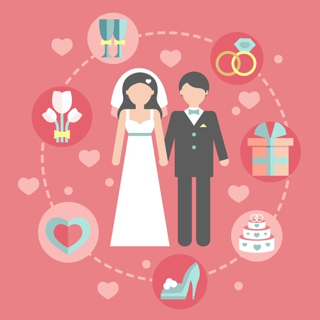 bride and groom: Wedding infographic set with Cartoon Bride and groom.Wedding day coast statistics design template.Vector business concepts with flat  icons  for business report or plan, many elements in a flat style