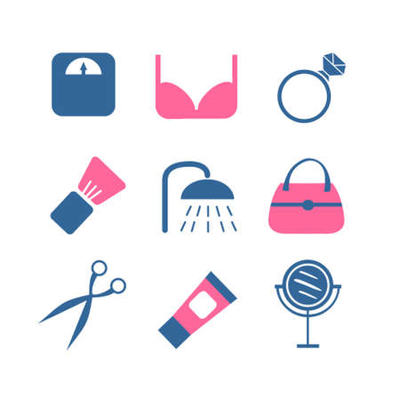 illustrator  vector: vector color beauty icons on white background. large set illustrator vector modern concept of flat design