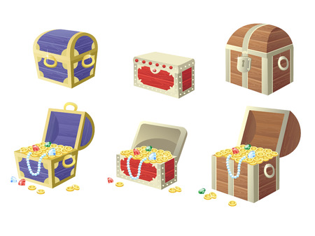 vector illustration of treasure chest full of gold coins and gems. Vector elements for the development of games and applications