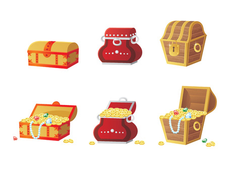 gold treasure: vector illustration of treasure chest full of gold coins and gems. Vector elements for the development of games and applications