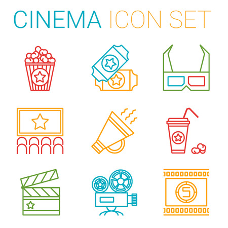 showreel: Flat line icons set of professional film production, movie shooting, studio showreel, actors casting, storyboard writing and post production. Flat design style modern vector illustration concept. Different genres of movie Illustration
