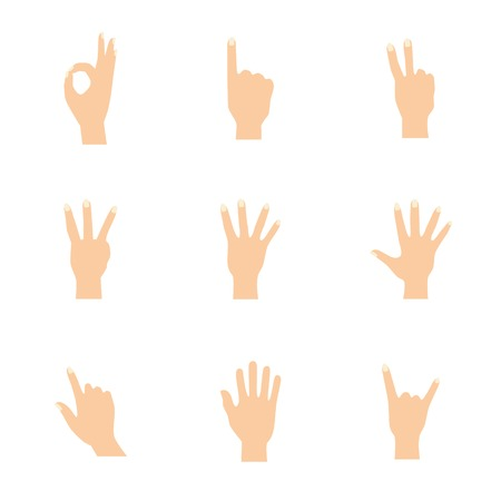 lean on hands: Vector illustrations pack of woman hands in various gestures.