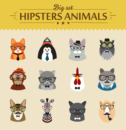 illustrator vector: Cute fashion Hipster  Animals  of vector icons large set illustrator vector modern concept of flat design