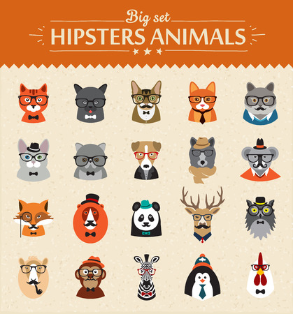 hipster: Cute fashion Hipster  Animals  of vector icons large set illustrator vector modern concept of flat design