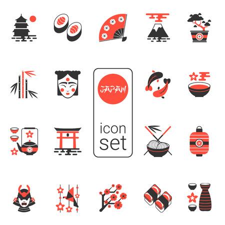 アジアのアイコンを設定 - ベクトル イラスト。eps 8。黒と赤で現代的なアイコンの選択