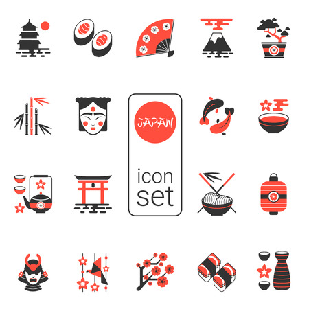 japanese fan: Asian icons set - vector illustration. eps 8. Selection of Contemporary icons in black and red