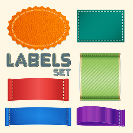 folded clothes: Collection of Five Colorful Blank Labels or Badges with Copyspace for Text