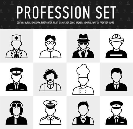 occupation icons, mono vector symbols a large set of illustrations in a simple linear style Illustration