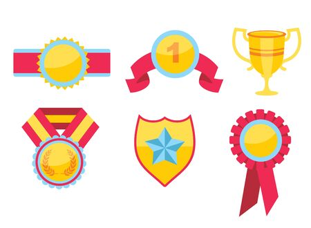champ: Trophy and awards icons set. flat in a modern style