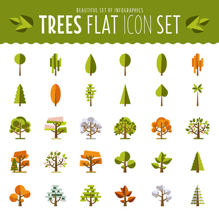 forest trees: tree icon set a large set of illustrations in a modern style flat