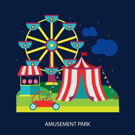 fair play: kids circus fun fair illustration vector modern style flat Illustration