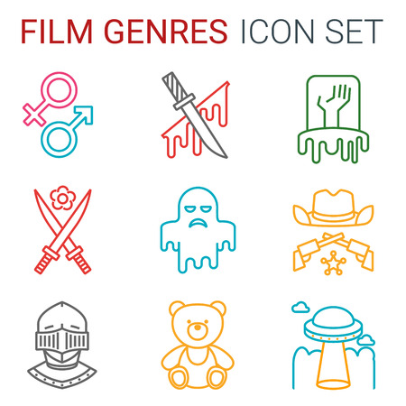 Flat line icons set of professional film production, movie shooting, studio showreel, actors casting, storyboard writing and post production. Flat design style modern vector illustration concept. Different genres of movie Vector