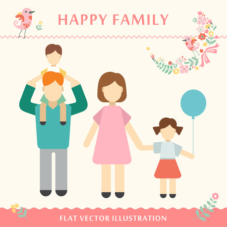 spending: Family with children kids people concept flat icons set of parenting, time spending and being a grandmother happy family concept Vector illustration Illustration